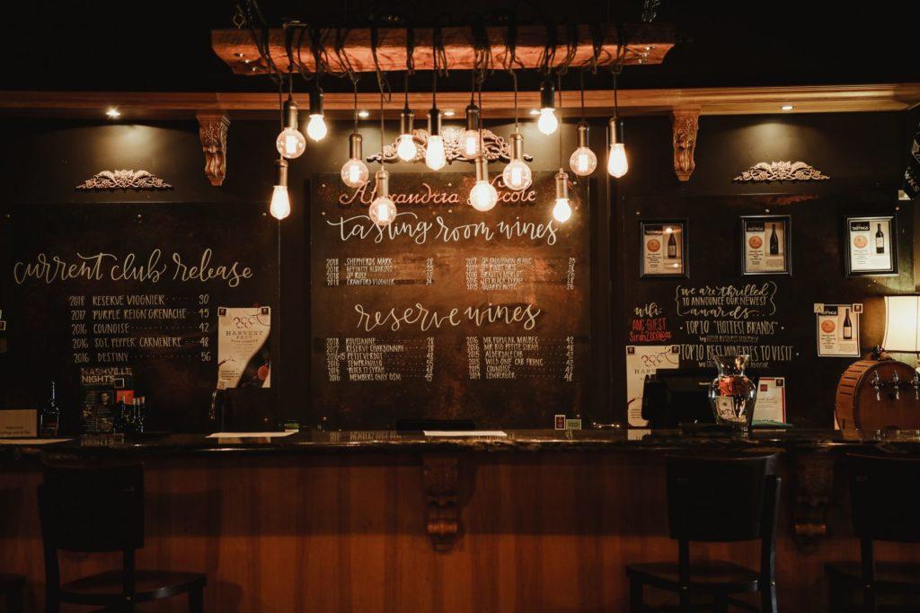 back bar for hidden door room at Alexandria Nicole Cellars Prosser